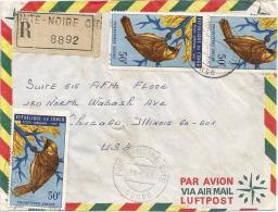 Congo 1968 Pointe Noire Philaeterus Bird Registered Cover - Zangvogels