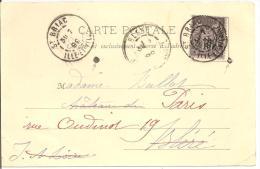 N°Y&T 89 CP PREC ST BRIAC  Vers  PARIS Le   07 ..... 1899 (2 SCANS) - Marcophilie (Lettres)
