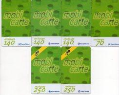 MOBICARTE - France Telecom Mobiles - Lot De 6 Cartes - Recharge 70-140-250 - Année 2001 - Collections