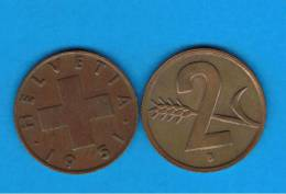 SUIZA - SWITZERLAND - 2  Rappen 1951  KM17 - Suiza
