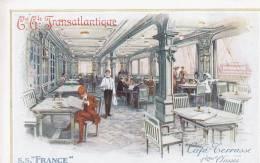 """Compagnie Générale Transatlantique. S.S.""""France"""". Café Terrasse 1ère Classe - Sin Clasificación"""