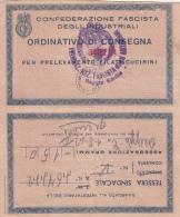 Federazione Nazionale Fascista Degli Industriali. - Tessera Sindacale Per Prelev. Filati Cucirini 1942 - Organizations