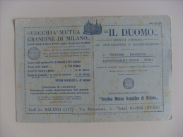 """Carta Assorbente/buvard """"Vecchia Mutua Grandine Di Milano IL DUOMO. Società Italiana Di Mutuo Soccorso"""" Anni'30 - Banca & Assicurazione"""