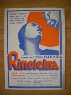 """Carta Assorbente/buvard """"Contro L'influenza RINOLEINA  Di Bernocco  Borgogno"""" 1935 - M"""