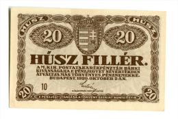Hongrie Hungary Ungarn 20 Filler 1920 UNC - Hungary