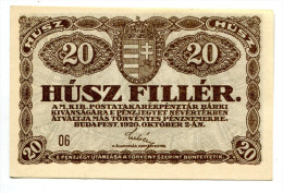 Hongrie Hungary Ungarn 20 Filler 1920 AUNC / UNC # 2 - Hungary