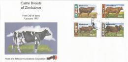 Zimbabwe 1997 Cows FDC - Koeien