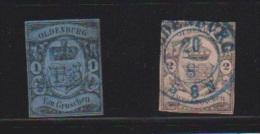 OLDENBURG  //   1 G BLEU ET 2 G ROSE  //  N 6-7  //  OBLITERE //  COTE 885 €//  10 %  COTE - Oldenburg