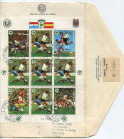 Env PARAGUAY 1981 - Coupe Du Monde De Football Espagne 82 - Feuilet Oblitere Sur Enveloppe (Yvert 883  X 5 + Vignettes) - Paraguay