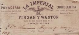 E4475 CUBA ESPAÑA SPAIN 1869 INVOICE LA IMPERIAL BAKERY ESPAÑA - Spain