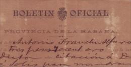 E4478 CUBA ESPAÑA SPAIN 1889 INVOICE NEWSPAPER BOLETIN OFFICI ESPAÑA - Spain