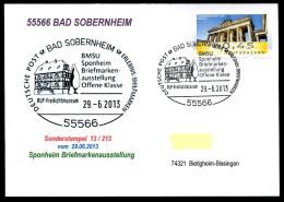 91874) BRD - Karte SoST 13/213 In 55566 BAD SOBERNHEIM Am 29.6.2013 - Sponheim Briefmarkenausstellung, Freilandmuseum - BRD