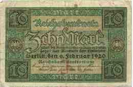 Allemagne Germany 10 Mark 6 Februar 1920 P67a - 10 Mark