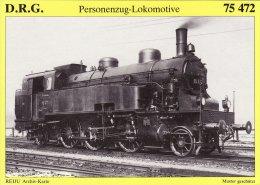 Railway Postcard German DRG Class 75 472 2-6-2T Loco Germany 1'C 1' H2 75472 - Trains