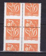 FRANCE N° 3739 1F ORANGE TYPE MARIANNE DE LAMOUCHE BLOC DE 4 PIQUAGE A CHEVAL NEUF SANS CHARNIERE - Curiosities: 2000-09 Mint/hinged