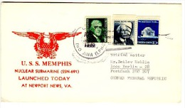 USA , 1977 , Special Cancell. USS  MEMPHIS  SSN671  Used Cover - Submarines
