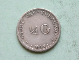 1944 D - 1/4 G / KM 44 ( Uncleaned - For Grade, Please See Photo ) ! - Curaçao