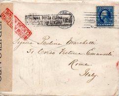 ETATS UNIS LETTRE CENSUREE POUR L'ITALIE 1917 - Postal History