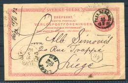 1892 Sweden Railway TPO PKXP Stationery Brefkort - Liege