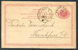 1889 Sweden Railway TPO PKXP Stationery Brefkort - Deutsche Bank Frankfurt