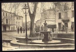 CPA ANCIENNE- FRANCE- ST-MARTIN-DE-LONDRES (34)- LA PLACE EN HIVER- FONTAINE TRES GROS PLAN- BELLE ANIMATION- HOTELS - Francia