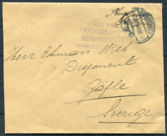 1918 Netherlands Militaire Internee Franc De Port Cover - Sweden