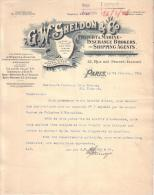 ROYAUME UNI - PARIS - ASSURANCE - FREIGHT & MARINE INSURANCE BROKERS AND SHIPPING AGENTS - G. W. SHELDON - LETTRE - 1906 - Royaume-Uni