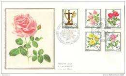 """TH - 12232 - Superbe Enveloppe Suisse En Soie Avec Série Pro Juventute 1982 """"Roses"""" - Roses"""