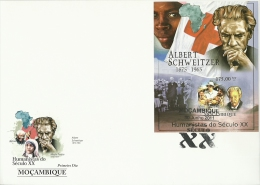 M11325biF Mozambique 2011 Humanists Of XX Century Albert Schweitzer RED CROSS Nobel Prize Imperf S/s FDC Scott:2331 - Albert Schweitzer