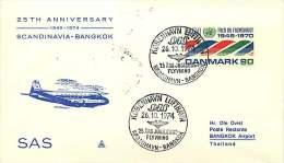 1974  25è Ann Du Service  SAS Copenhague  - Bangkok - Aéreo