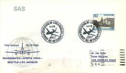 1974   Premier Vol De SAS Copenhague - Los Angeles   Par Le Pôle Nord - Lettres & Documents