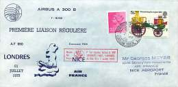 1974   Premier Vol Air France Londres - Nice Par Airbus A300 B - 1952-.... (Elisabetta II)