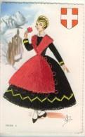 Carte Brodée Savoie N°5  Illust. Else  Blason  (costumes Régionaux De France)  TBE - Brodées