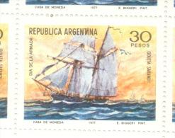 DIA DE LA ARMADA NACIONAL NAVY GOLETA SARANDI  AÑO 1977 OFFSET FOSFOESCENTE SIN FILIGRANA MNH - Argentina