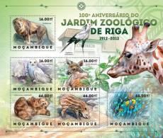 MOZAMBIQUE 2013 ZOO BIRDS LION GIRAFFE BEAR DEER PIG OWL S/S MNH NEW ISSUE - Stamps