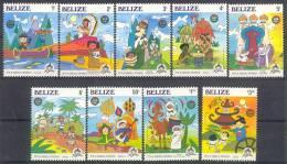 MyuD174 WALT DISNEY 30 JAAR DISNEYLAND KANO INDIAN CACTUS LAMA GIRAF MUSIC DONKEY ASS CAMEL FISH BELIZE 1985 PF/MNH - Disney