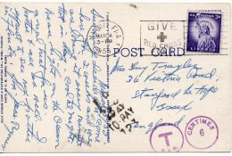 1955 USA United States Postcard Miami Sent To UK Taxed SLOGAN 2scans - Stati Uniti