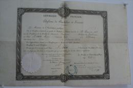 DIPLÔME  DE  BACHELIER  ES  SCIENCE   SIGNE   ARMAND  FALLIERES  ( MINISTRE INSTRUCTION PUBLIQUE /   PRESIDENT EN  1883 - Autografi
