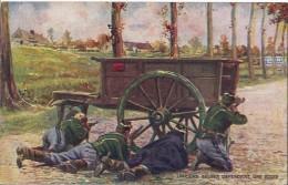 NOS TROUPES . LANCIERS  BELGES Défendant Une Route . Pub : Dubonnet !! . 1915 . Voir Verso .