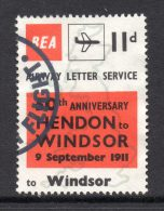 1961 BEA Airway Letter Servive 50th Anniversary 11d Stamp As Scanned-Cancelled - 1952-.... (Elizabeth II)