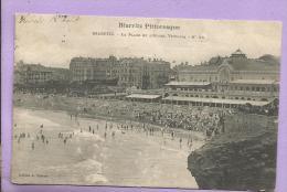 64 - BIARRITZ - La Plage Et L'Hôtel Victoria - Animée - Oblitérée En 1905 - Biarritz