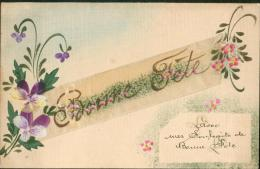 Carte Peinte Bonne Fête - Embroidered