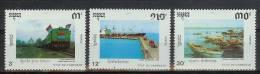 Mua457 TRANSPORT TREINEN SCHEPEN BOTEN TRAIN SHIPS ZUG SCHIFFE LOCOMOTIVES AUFBAU CAMBODJA CAMBODGE 1990 PF/MNH # - Ships