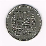 -  FRANKRIJK 10 FRANCS 1947 KLEIN HOOFD - K. 10 Francs