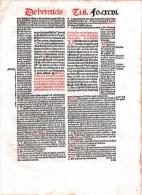 Post Incunabel Blad SEXTI LIBRI Parijs 1505 - Manuscritos