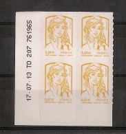 """Timbre Adhésif 4 Ex """"Marianne Et La Jeunesse 0.01 €"""" (2013) - Adhésifs (autocollants)"""