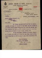 Entête  19/09/1923  :  LONDON  ( Londres )  -  JOHON  MOIR  &  SON  (  Brandy)  Pour  Mr  FOUCAULD  à  COGNAC - Royaume-Uni