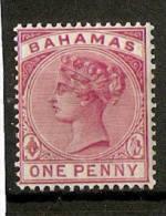 BAHAMAS 1884-1890 1d CARMINE-ROSE SG 48 VERY LIGHTLY MOUNTED MINT Cat £7.50 - 1859-1963 Kronenkolonie
