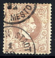 AUSTRIA 1867 Franz Joseph 50 Kr. Coarse Whiskers Perforated 12 Used.  Michel 41 I D - 1850-1918 Empire