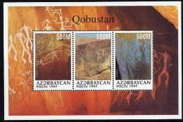 AZERBAIJAN 1997 Qobustan Rock Art Block  MNH / **. - Unclassified